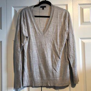 J. Crew Gray Merino Wool V neck Sweater in size L